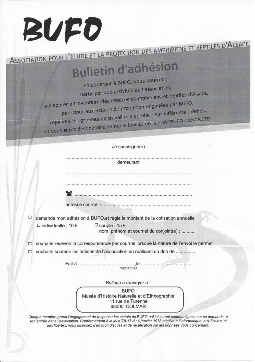 Inscription bufo